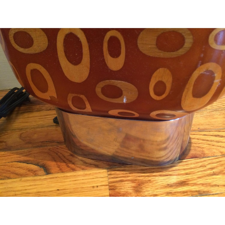 Mid-Century Fiberglass & Wood Inlay Floor Lamp - image-3