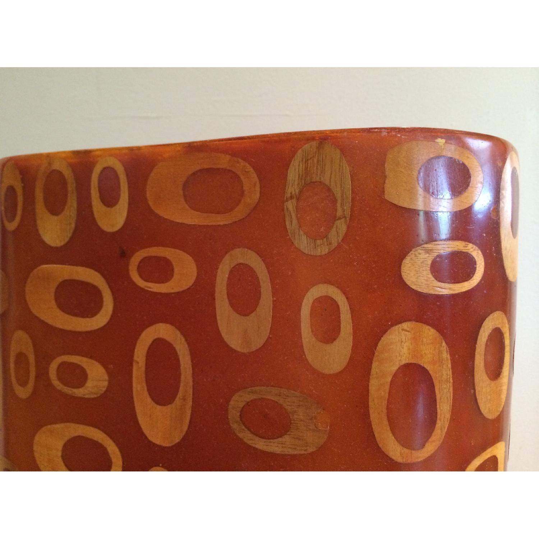 Mid-Century Fiberglass & Wood Inlay Floor Lamp - image-4