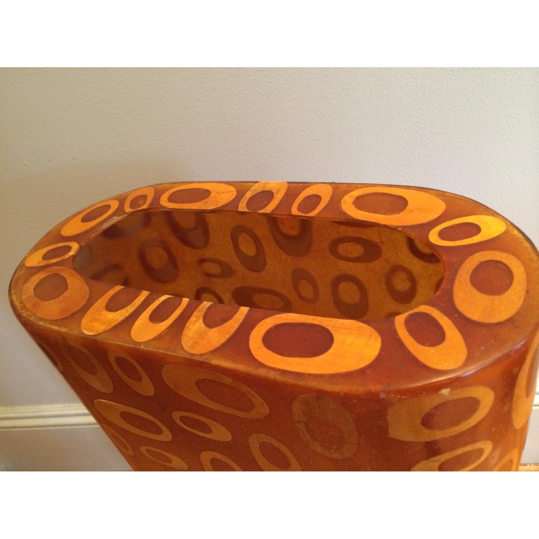 Mid-Century Fiberglass & Wood Inlay Floor Lamp - image-5