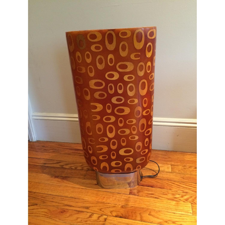 Mid-Century Fiberglass & Wood Inlay Floor Lamp - image-7