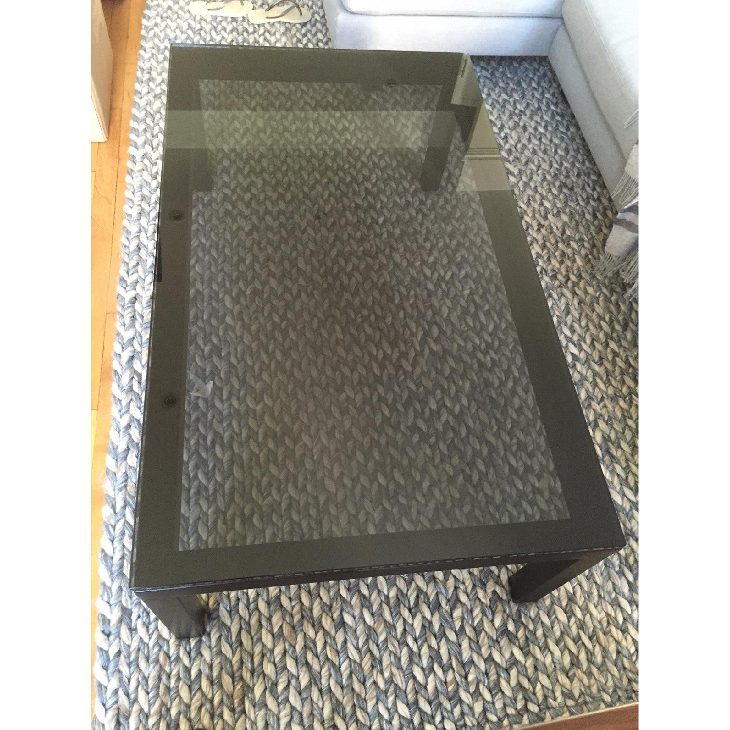 Crate & Barrel Parsons Coffee Table w/ Grey Glass - image-1