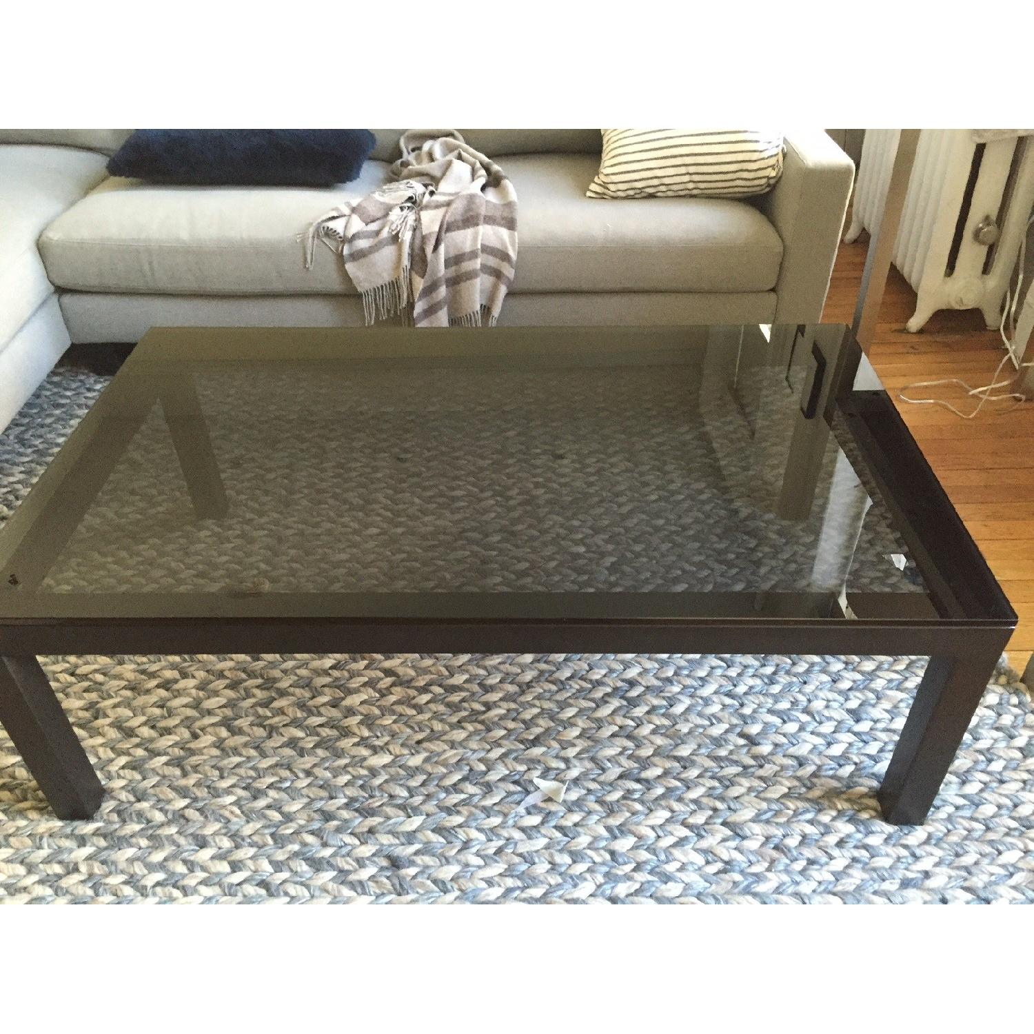 Crate & Barrel Parsons Coffee Table w/ Grey Glass - image-2
