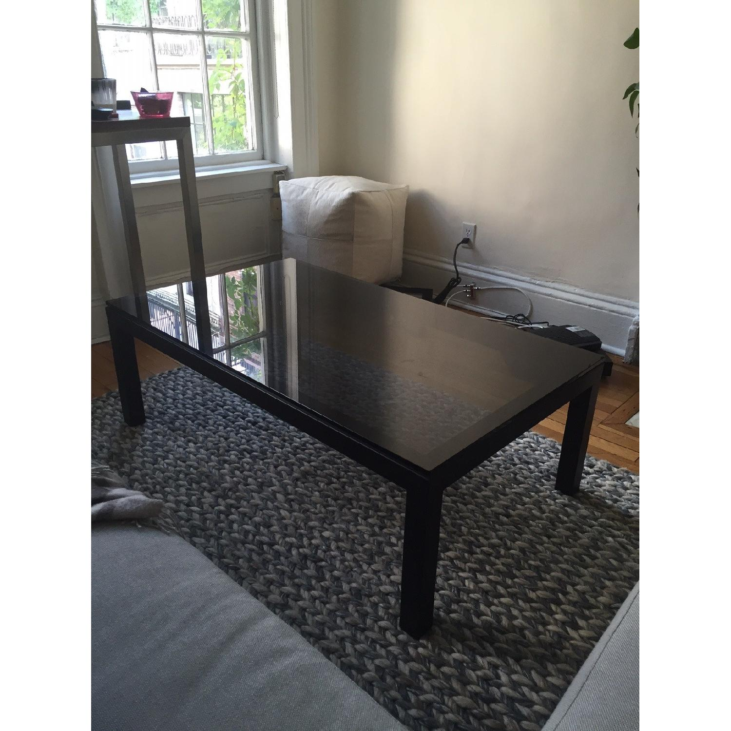 Crate & Barrel Parsons Coffee Table w/ Grey Glass - image-3