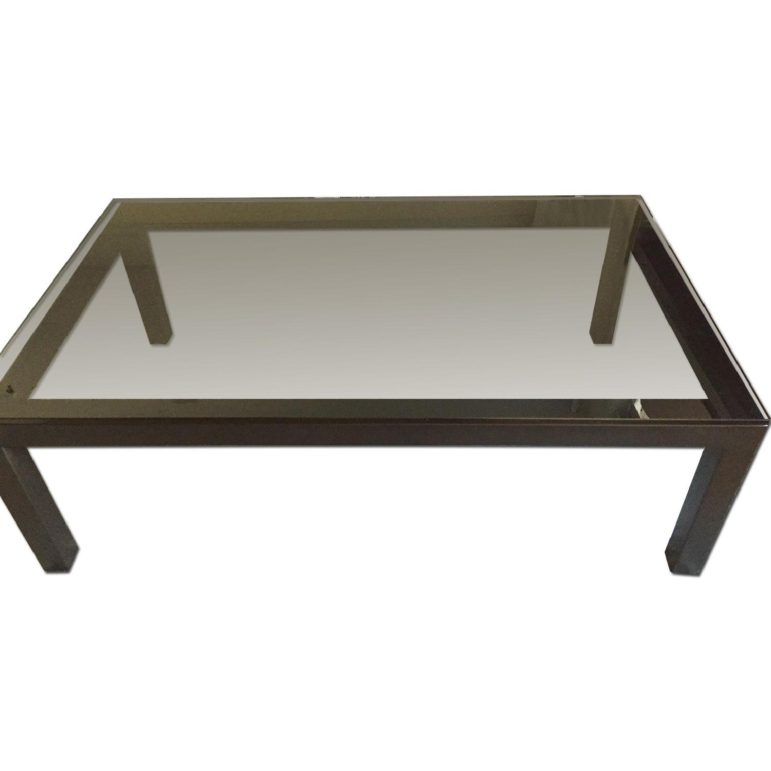 Crate & Barrel Parsons Coffee Table w/ Grey Glass - image-0