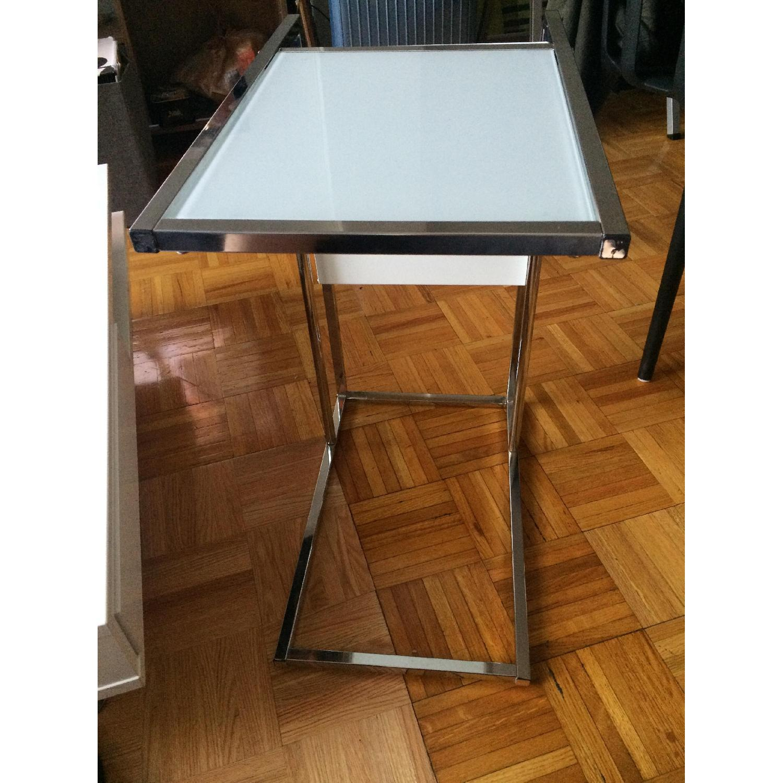 Modern Glass End Table w/ Magazine Rack - image-1