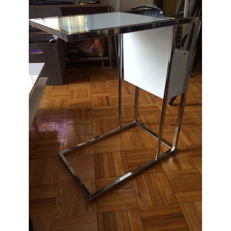 Modern Glass End Table w/ Magazine Rack - image-2
