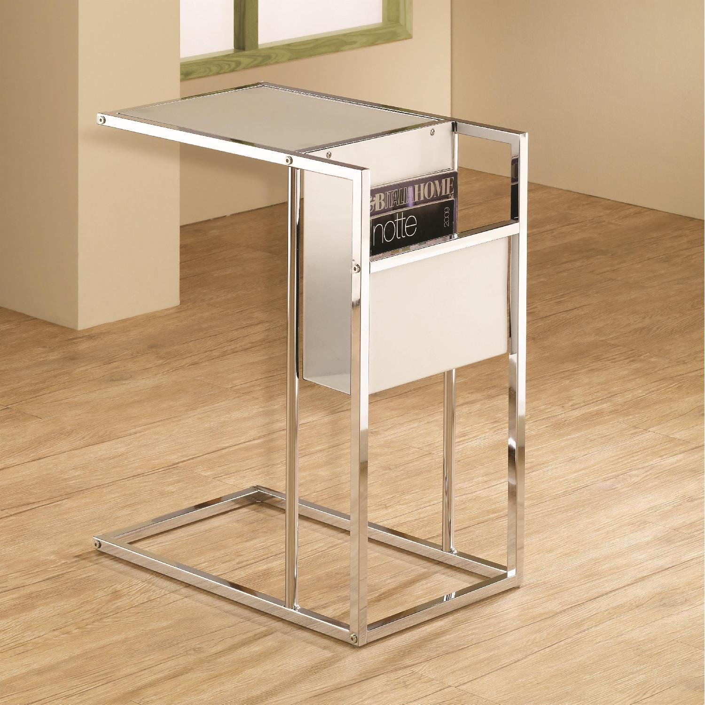 Modern Glass End Table w/ Magazine Rack - image-3