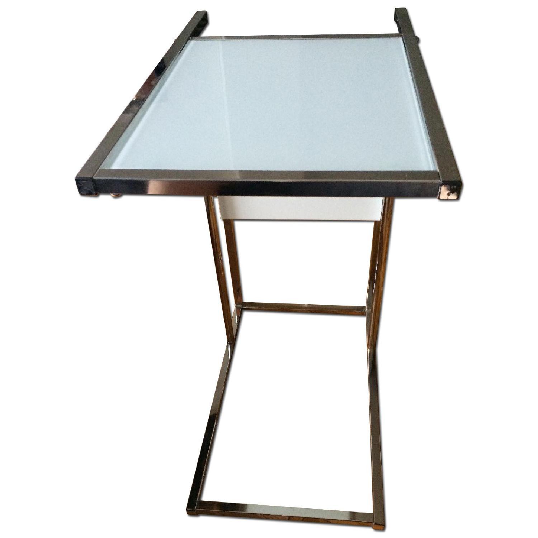 Modern Glass End Table w/ Magazine Rack - image-0