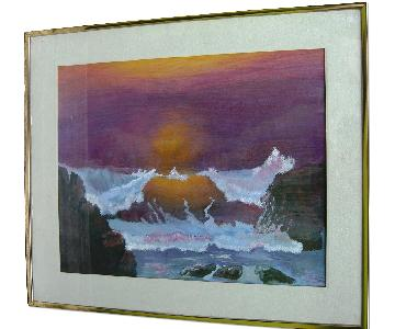 Matted and Framed Vintage 1977 Watercolor Painting