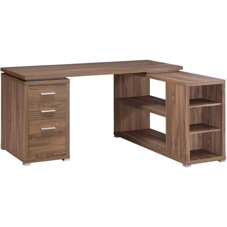 Light Natural Wood Extended Office Desk Aptdeco