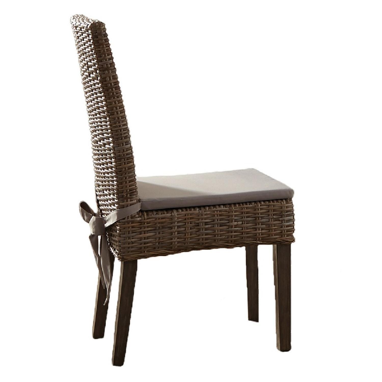 Kubu Rattan Dining Chair w/ Khaki Fabric Cushion - image-0