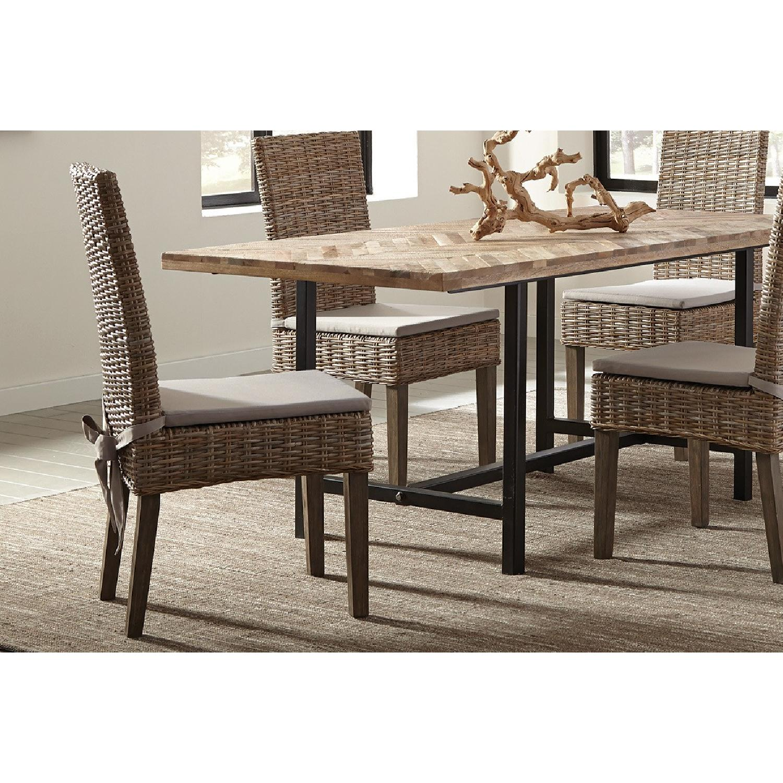 Kubu Rattan Dining Chair w/ Khaki Fabric Cushion - image-1