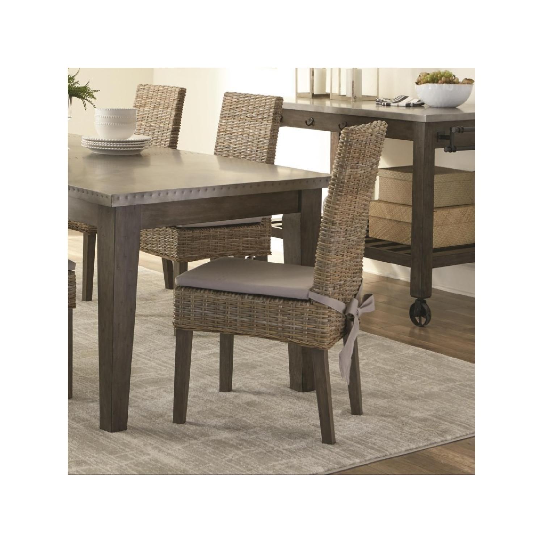 Kubu Rattan Dining Chair w/ Khaki Fabric Cushion - image-2