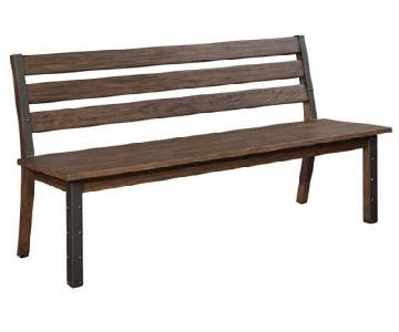 Industrial Style Bench w/ Metal Accent