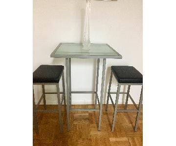 Crate & Barrel Glass High Top Table w/ 2 Bar Stools