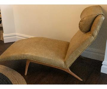 Mid-Century Leather Chaise Lounge in Taupe