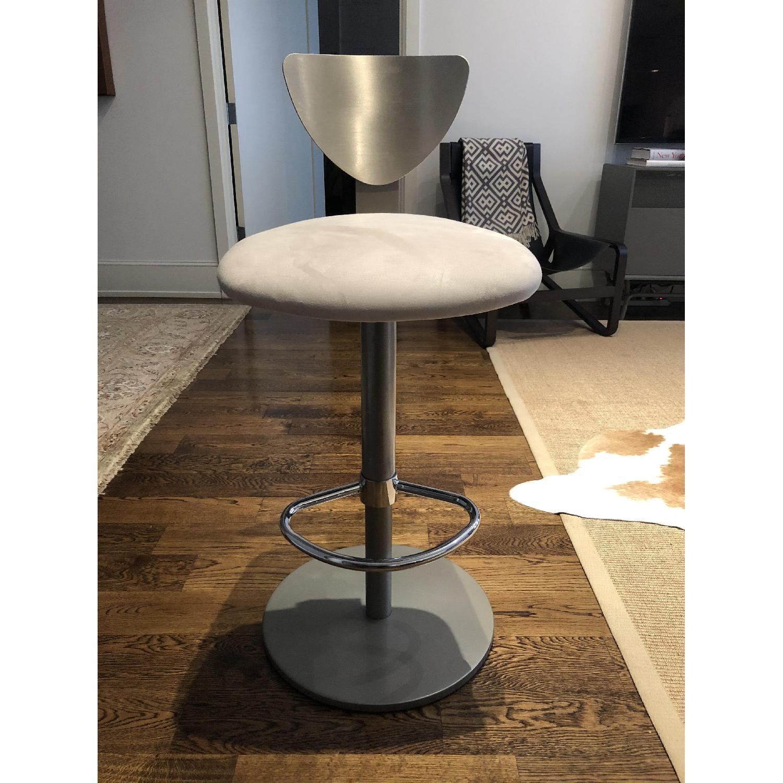 Adjustable Silver Swivel Barstool w/ Cream Padded Seat - image-1