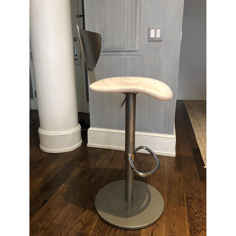 Adjustable Silver Swivel Barstool w/ Cream Padded Seat - image-3