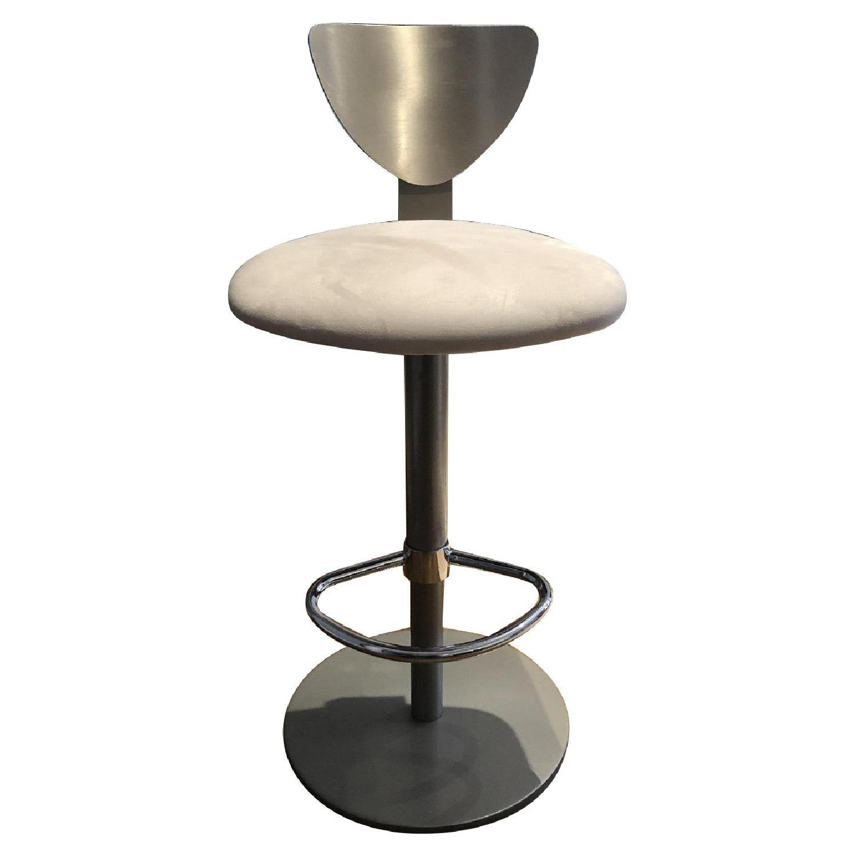 Adjustable Silver Swivel Barstool w/ Cream Padded Seat - image-0