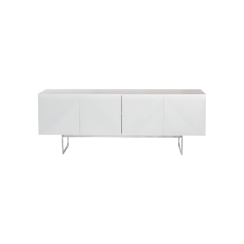 Modern White Sideboard w/ Sculptured Doors