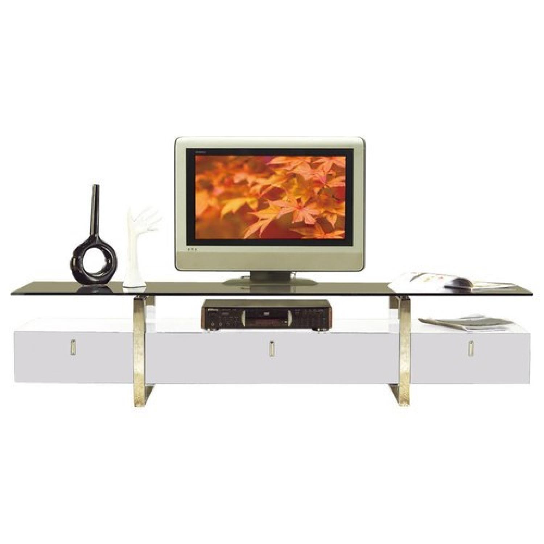 Modern TV Stand in White w/ Black Glass Top & Metal Legs