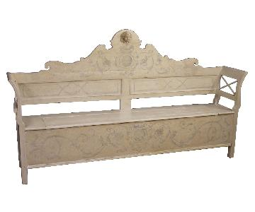 20th Century Italian Bench in Lacquered & Carved Wood