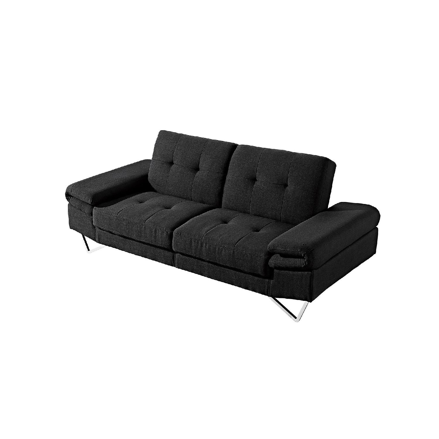 Modern Sofa Bed in Black Fabric w/ Stainless Steel Legs