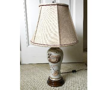 Antique Asian Porcelain Jar Table Lamps w/ Shades