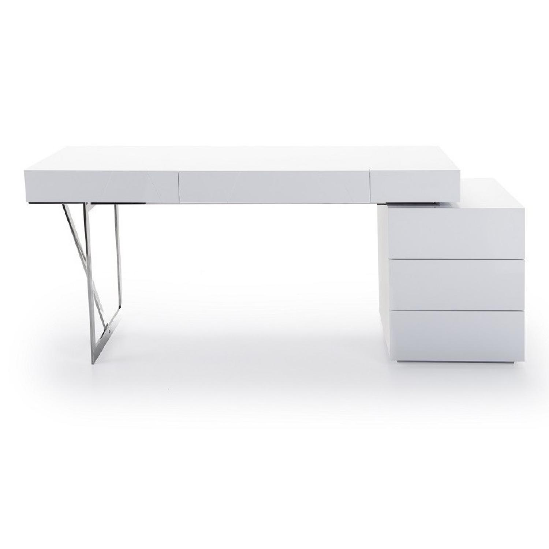 Modern White Lacquer Desk W Chrome Leg Reversible Drawers Aptdeco