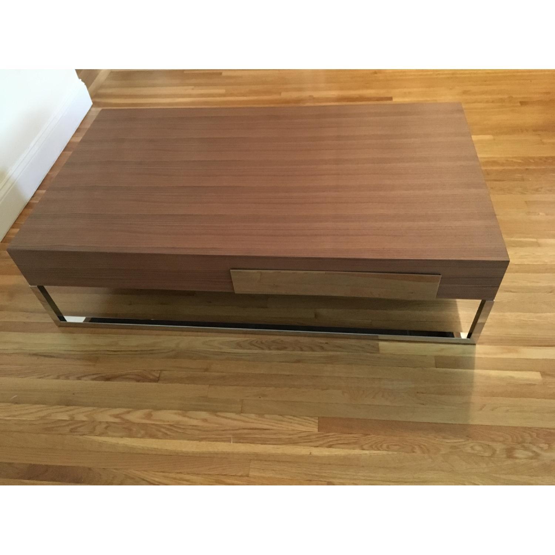 Modern Coffee Table w Drawer in Walnut w Chrome Legs AptDeco
