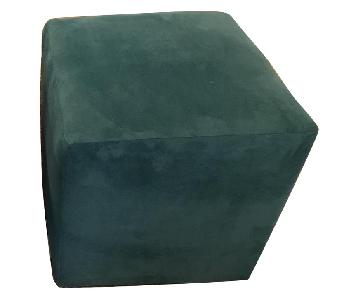ABC Carpet and Home Turquoise Square Ottomans
