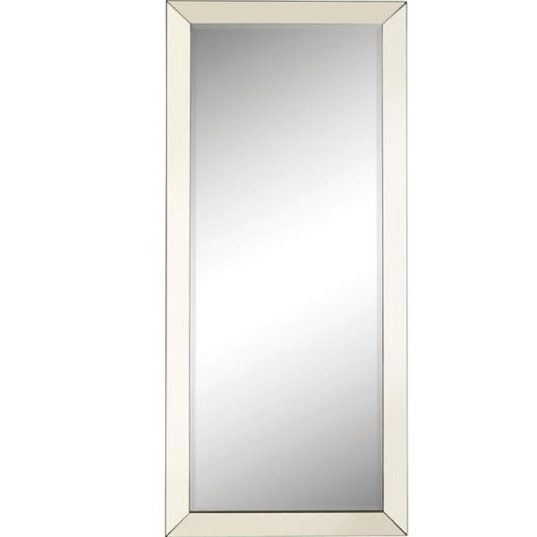 Modern Full Length Floor Mirror w/ Silver Mirror Edge
