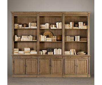Restoration Hardware Library Triple Bookcase in Solid Oak