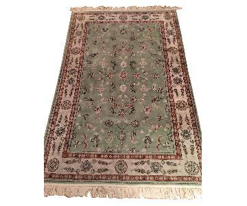 Turkish Silk & Cotton Mint Green Area Rug