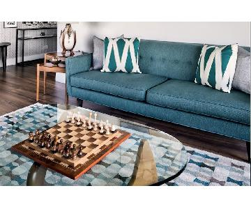 Crate & Barrel Gia Teal Blue Green Modern Tufted Sofa