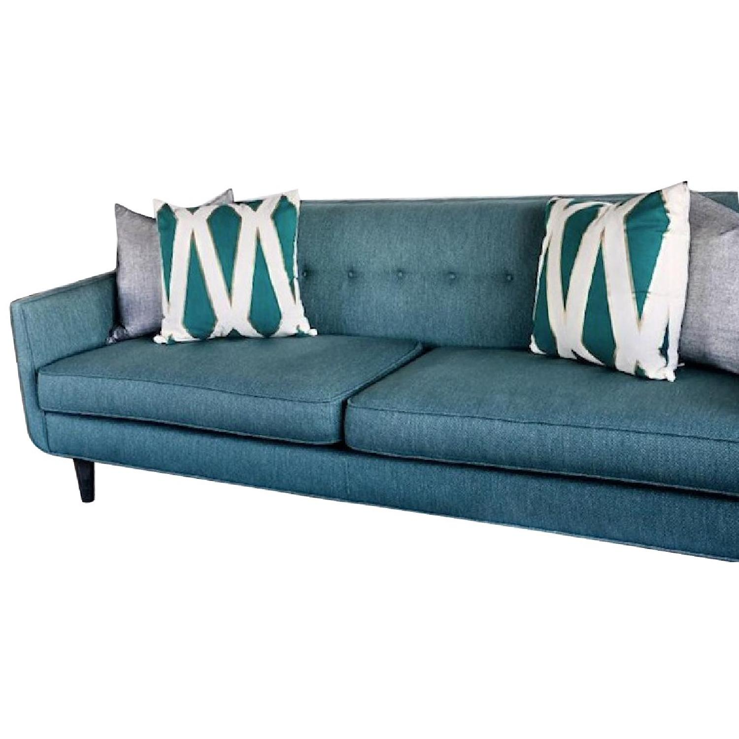 Crate & Barrel Gia Teal Blue Green Modern Tufted Sofa - AptDeco