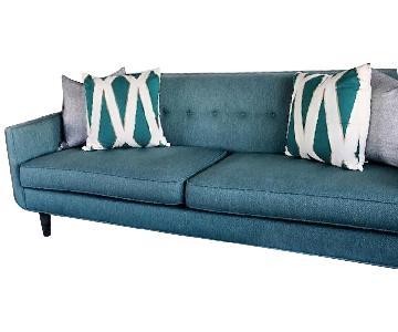 Crate & Barrel Gia Teal Blue Green Modern Tufted Sofa