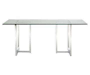 CB2 Silverado Glass & Chrome Rectangular Dining Table