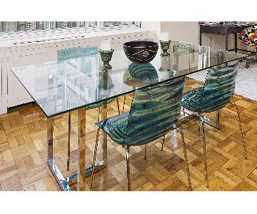 CB2 Silverado Dining Table w/ 4 Calligaris L'eau Chairs