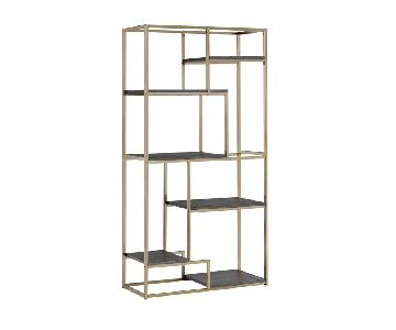 Furniture of America Nara 6 Shelf Asymmetrical Open Bookcase