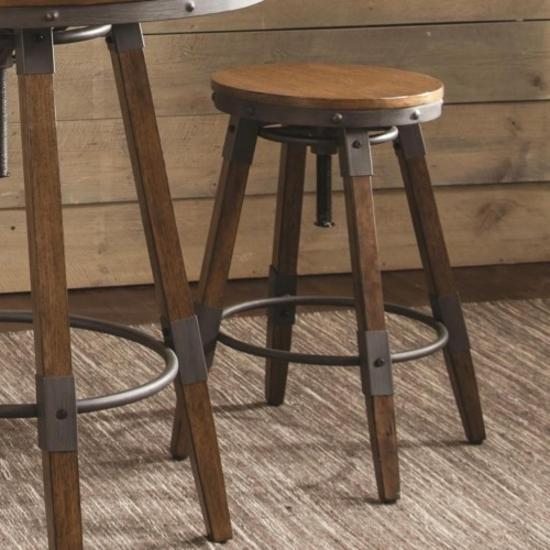 ... Rustic Style Height Adjustable Wood Stool W/ Metal Details 0 ...