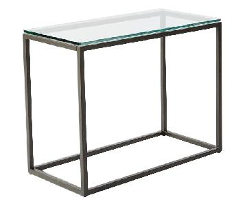 West Elm Box Frame Narrow Glass Side Table
