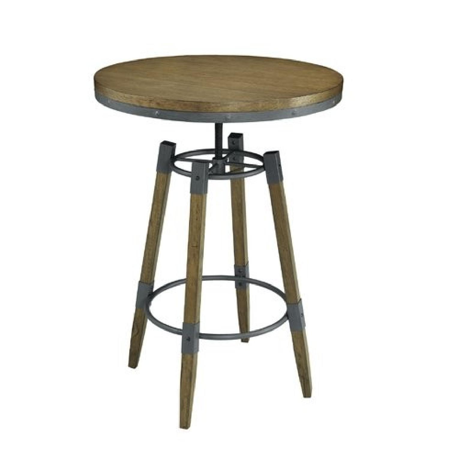 Rustic Height Adjustable Counter/Bar Table w/ Metal Details