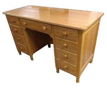 EA Clore Oak Wood Kneehole Desk