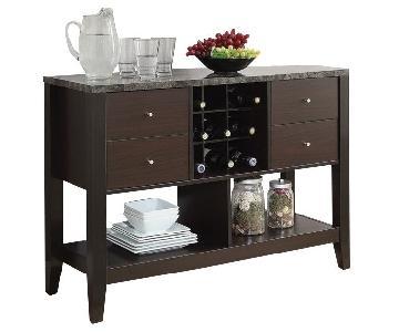 Server w/ Wine Shelves & Drawers & Laminate Top