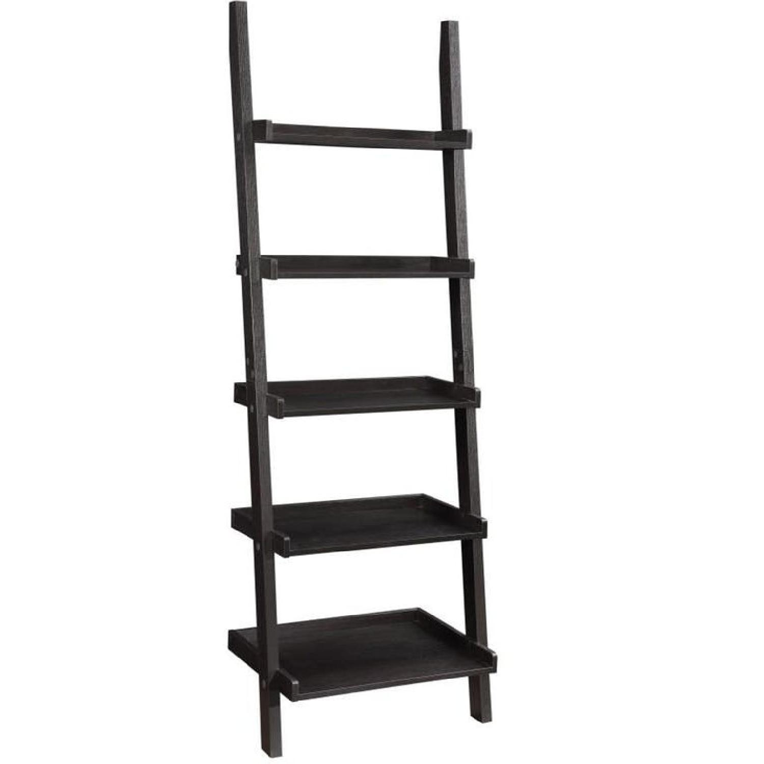 Wall Leaning Ladder Bookcase in Cappuccino Finish - image-0
