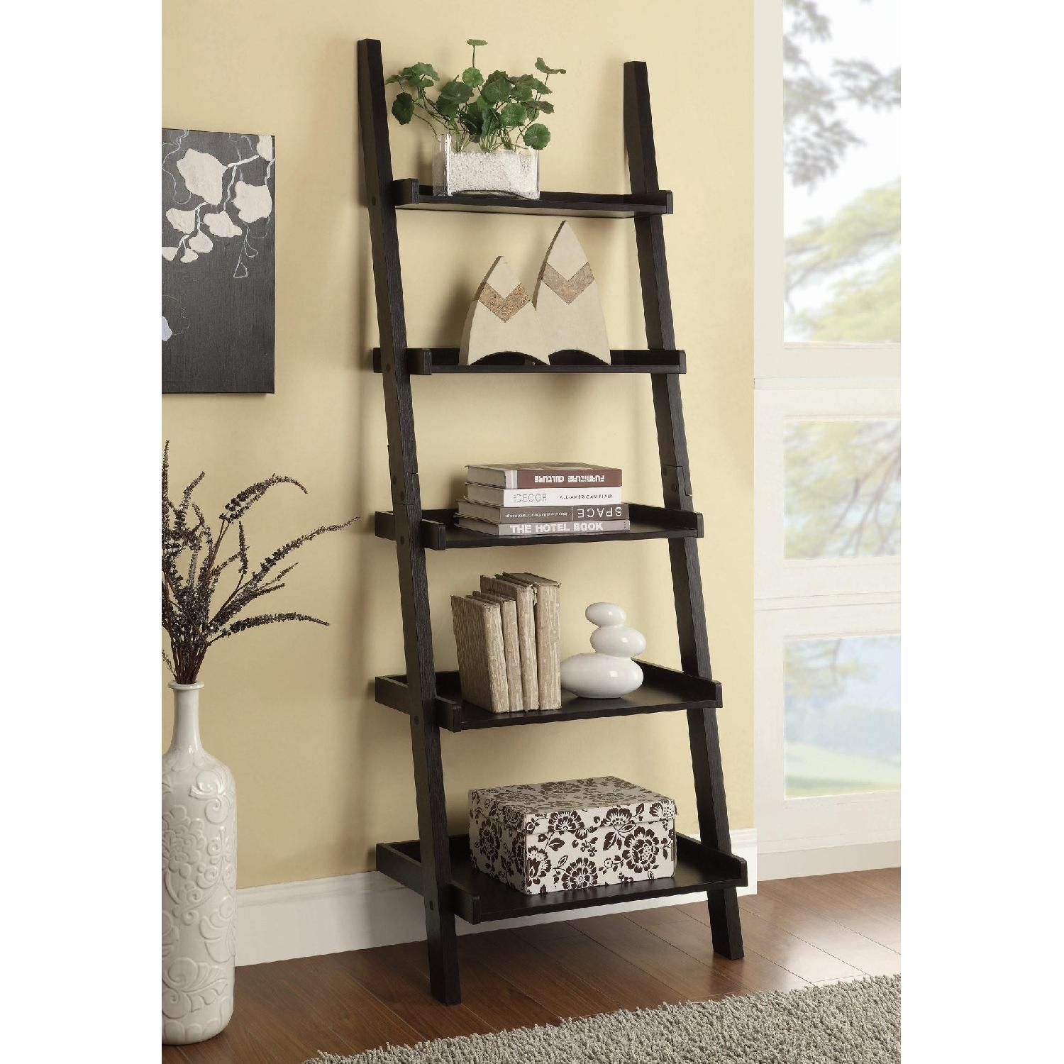 Wall Leaning Ladder Bookcase in Cappuccino Finish - image-2