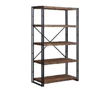 Bookcase in Weathered Chestnut & Black Metal Frame