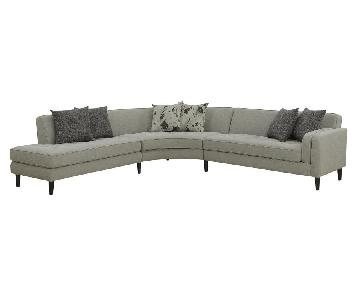 Mid Century Style Sectional in Charcoal w/ Tufted Seats