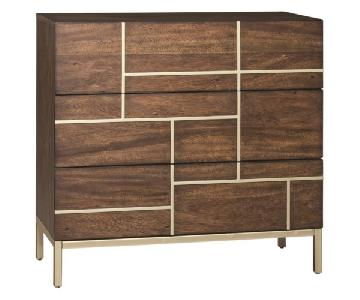 Mid Century Inspired Cabinet in Warm Brown & Brass Accent